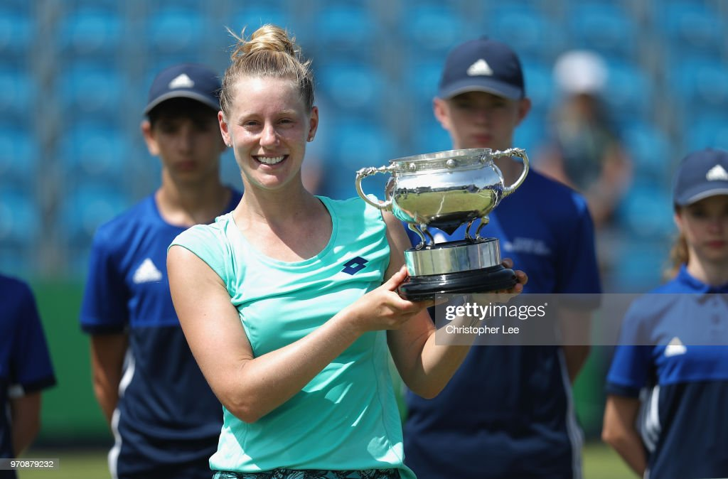 Alison Riske of USA poses for the camera with the Surbition Trophy after her victory over Conny Perrin of Switzerland during their Womens Final match on Day 09 of the Fuzion 100 Surbition Trophy on June 10, 2018 in London, United Kingdom.