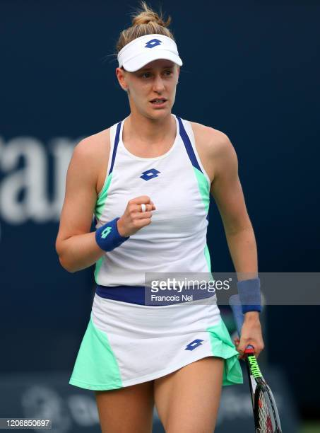 Alison Riske of USA reacts during her Women's Singles match on Day One of the Dubai Duty Free Tennis Championships at Dubai Duty Free Tennis Stadium...