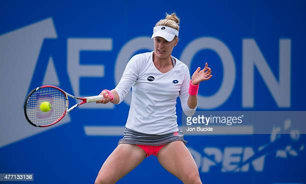Alison Riske of USA returns a shot during her match against Ana Konjuh of Croatia on day seven of the WTA Aegon Open Nottingham at Nottingham Tennis...