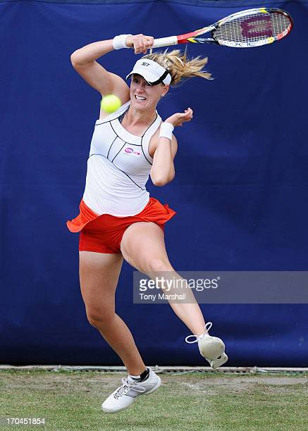 Alison Riske of USA returns in her Women's Singles third round match against Alla Kudryavtseva of Russia during day five of the AEGON Classic tennis...