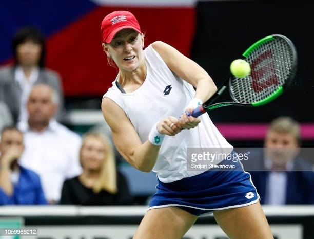 Alison Riske of USA returns the ball against Katerina Siniakova of Czech Republic during the Fed Cup Final between Czech Republic and USA at O2 Arena...