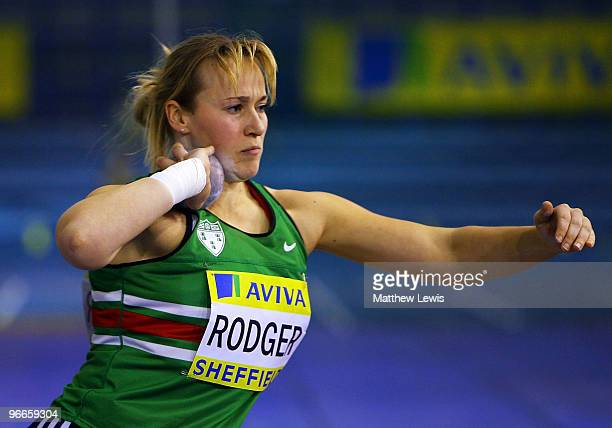 Alison Rodger of Sale in action during the Women's Shot Putt Final during the first day of the AVIVA World Trials and UK Championships at the EIS on...