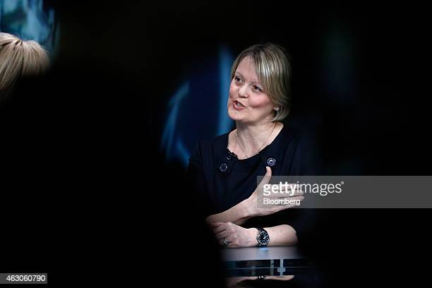 Alison Rose chief executive officer of commercial and private banking at Royal Bank of Scotland Group Plc gestures as she speaks during a Bloomberg...