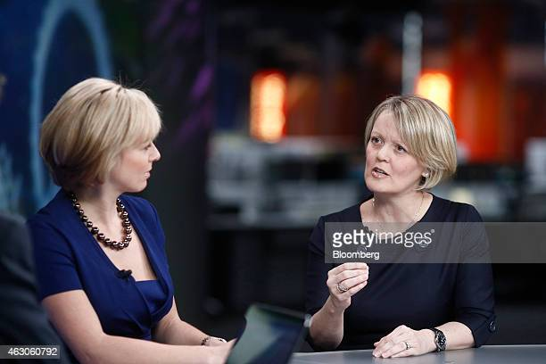 Alison Rose chief executive officer of commercial and private banking at Royal Bank of Scotland Group Plc right gestures as she speaks during a...
