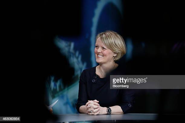 Alison Rose chief executive officer of commercial and private banking at Royal Bank of Scotland Group Plc reacts during a Bloomberg Television...