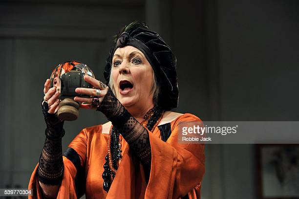 Alison Steadman as Madame Arcati in Noel Coward's 'Blithe Spirit' directed by Thea Sharrock at the Apollo Theatre in London
