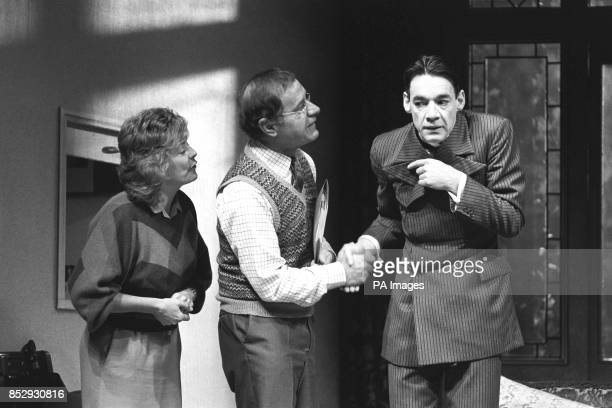 Alison Steadman Geoffrey Palmer and Roger Lloyd Pack in rehearsal at the Royal Court Theatre for Alan Bennett's new play Kafka's Dick