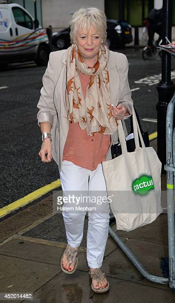 Alison Steadman sighted arriving at BBC Radio Two on July 11 2014 in London England