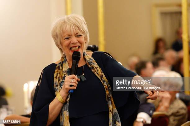 Alison Steadman speaks during a tribute lunch by the British Music Hall Society for Sir Ken Dodd held in honour of his knighthood and to celebrate...