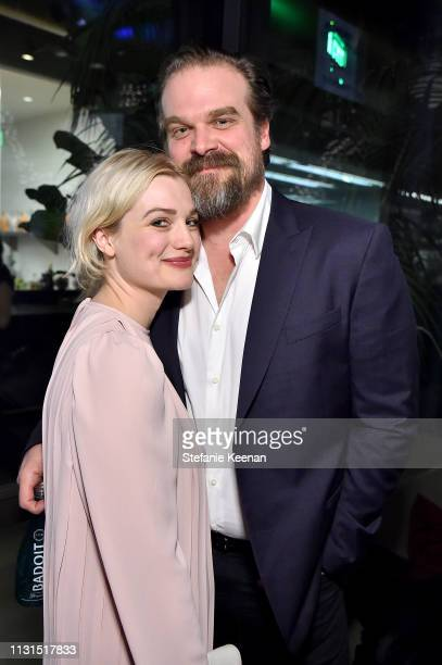 Alison Sudol and David Harbour attend the 12th Annual Women in Film Oscar Nominees Party Presented by Max Mara with additional support from Chloe...