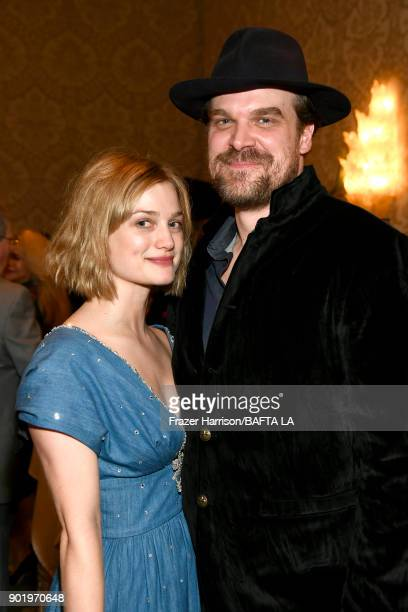 Alison Sudol and David Harbour attend The BAFTA Los Angeles Tea Party at Four Seasons Hotel Los Angeles at Beverly Hills on January 6 2018 in Los...
