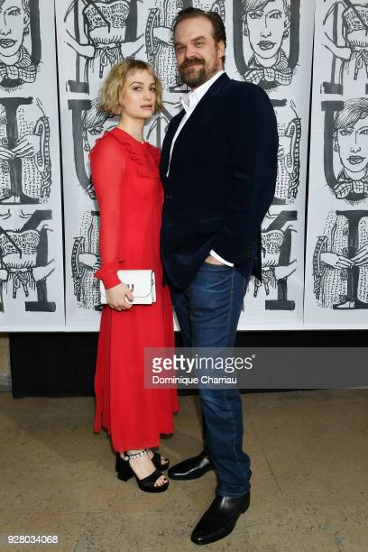 Alison Sudol and David Harbour attend the Miu Miu show as part of the Paris Fashion Week Womenswear Fall/Winter 2018/2019 on March 6 2018 in Paris...