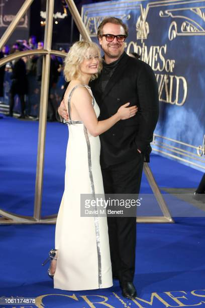 Alison Sudol and David Harbour attend the UK Premiere of 'Fantastic Beasts The Crimes Of Grindelwald' at Cineworld Leicester Square on November 13...