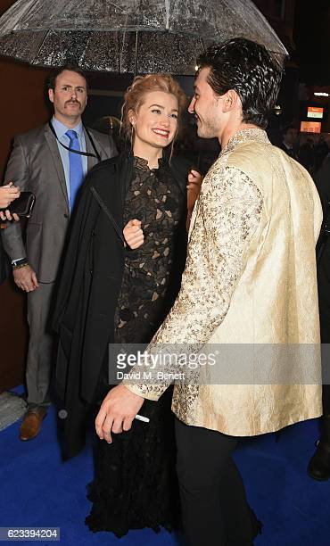 Alison Sudol and Ezra Miller attend the European Premiere of 'Fantastic Beasts And Where To Find Them' at Odeon Leicester Square on November 15 2016...