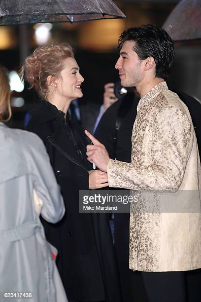 Alison Sudol and Ezra Miller attends the European premiere of 'Fantastic Beasts And Where To Find Them' at Odeon Leicester Square on November 15 2016...