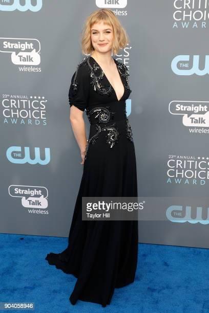 Alison Sudol attends the 23rd Annual Critics' Choice Awards at Barker Hangar on January 11 2018 in Santa Monica California