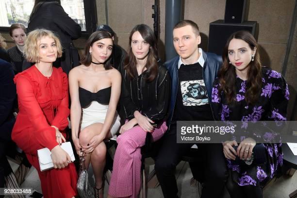 Alison Sudol Rowan Blanchard Stacy Martin Paul Dano and Zoe Kazan attend the Miu Miu show as part of the Paris Fashion Week Womenswear Fall/Winter...