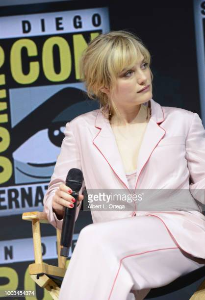 Alison Sudol speaks onstage at the Warner Bros 'Fantastic Beasts The Crimes of Grindelwald' theatrical panel during ComicCon International 2018 at...