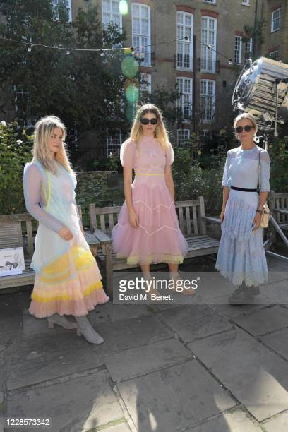 Alison Sudol, Veronika Heilbrunner and Laura Bailey attend the Bora Aksu catwalk show during London Fashion Week September 2020 at St Paul's Church...