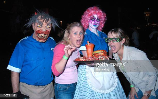 Alison Sweeney and Arianne Zuker during 'Days Of Our Lives' Stars Visit Knott's Berry Farms 'Halloween Haunt' at Knott's Berry Farm in Buena Park...