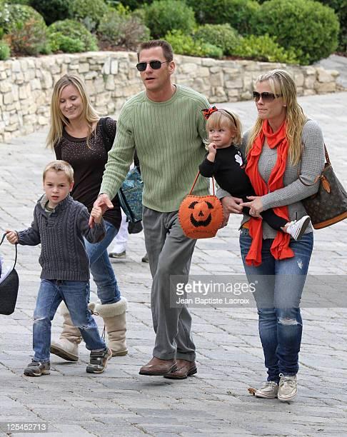 Alison Sweeney and Dave Sanov and their children Benjamin Sanov and Megan Sanov attend the Pottery Barn Kids' Halloween Carnival benefitting...