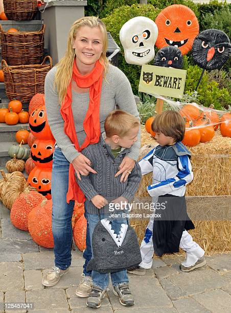 Alison Sweeney and son Benjamin Sanov attend the Pottery Barn Kids' Halloween Carnival benefitting Operation Smile at a private residence on October...