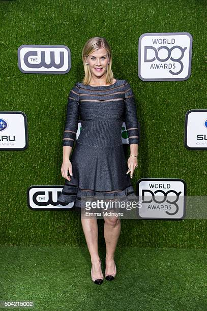 Alison Sweeney arrives at the 2016 World Dog Awards at Barker Hangar on January 9 2016 in Santa Monica California