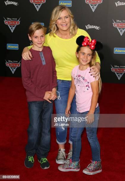 Alison Sweeney Benjamin Sanov and Megan Sanov attend the premiere of Disney and Pixar's 'Cars 3' on June 10 2017 in Anaheim California