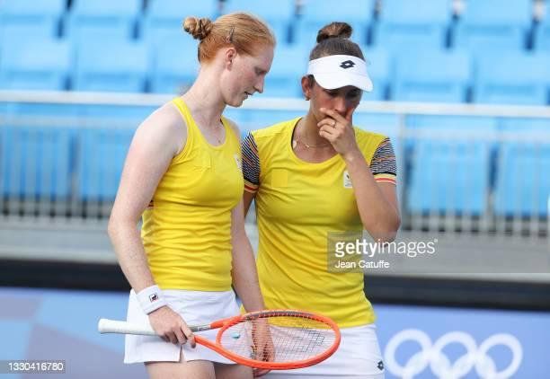 Alison Van Uytvanck and Elise Mertens of Belgium during day one of the Tokyo 2020 Olympic Games at Ariake Tennis Park on July 24, 2021 in Tokyo,...
