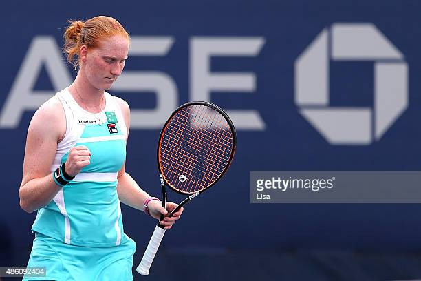 Alison Van Uytvanck of Belgium against Jessica Pegula of the United States on Day One of the 2015 US Open at the USTA Billie Jean King National...