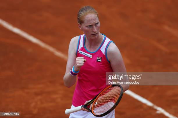 Alison Van Uytvanck of Belgium celebrates a point in her match against Samantha Stosur of Australia during day two of the Internazionali BNL d'Italia...