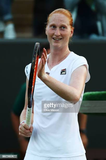 Alison Van Uytvanck of Belgium celebrates after defeating Garbine Muguruza of Spain in their Ladies' Singles second round match on day four of the...