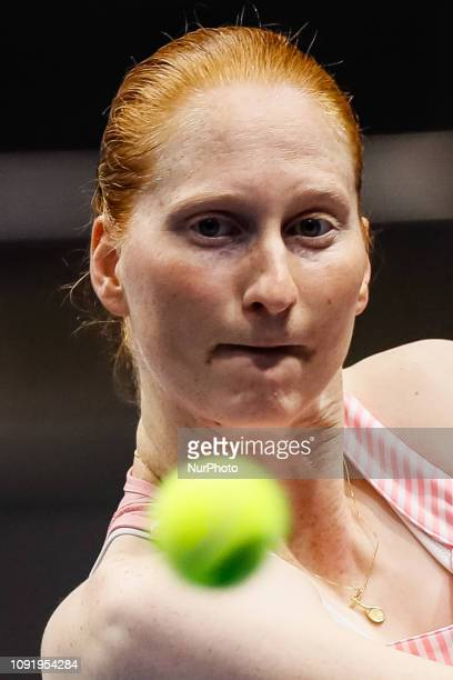 Alison Van Uytvanck of Belgium during her WTA St Petersburg Ladies Trophy 2019 tennis match against Aryna Sabalenka of Belarus on January 31 2019 in...
