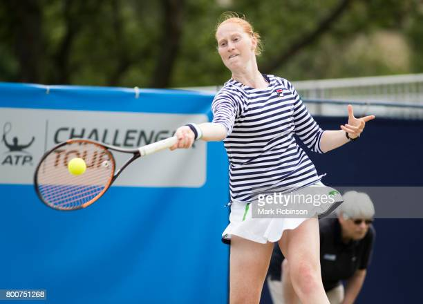 Alison van Uytvanck of Belgium during the womens's singles final on June 25 2017 in Ilkley England