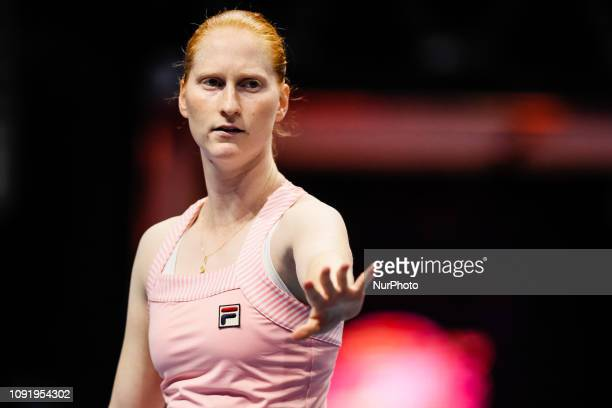 Alison Van Uytvanck of Belgium gestures during her WTA St Petersburg Ladies Trophy 2019 tennis match against Aryna Sabalenka of Belarus on January 31...
