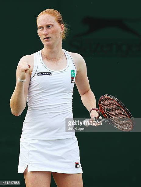 Alison Van Uytvanck of Belgium in action during her Ladies' Singles second round match against Dominika Cibulkova of Slovakia on day three of the...