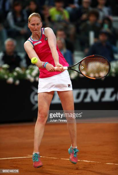 Alison Van Uytvanck of Belgium in action in her match against Caroline Wozniacki of Denmark during day four of the Internazionali BNL d'Italia 2018...