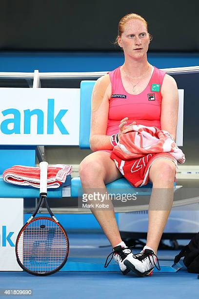 Alison Van Uytvanck of Belgium looks on in her first round match against Serena Williams of the United States during day two of the 2015 Australian...