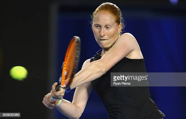 Alison Van Uytvanck of Belgium plays a backhand during her first round match against Victoria Azarenka of Belarus during day two of the 2016...