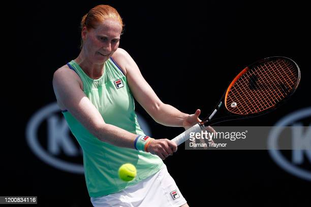 Alison Van Uytvanck of Belgium plays a backhand during her Women's Singles first round match against Fiona Ferro of France on day two of the 2020...