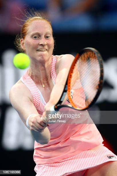 Alison Van Uytvanck of Belgium plays a backhand in her first round match against Caroline Wozniacki of Denmark during day one of the 2019 Australian...