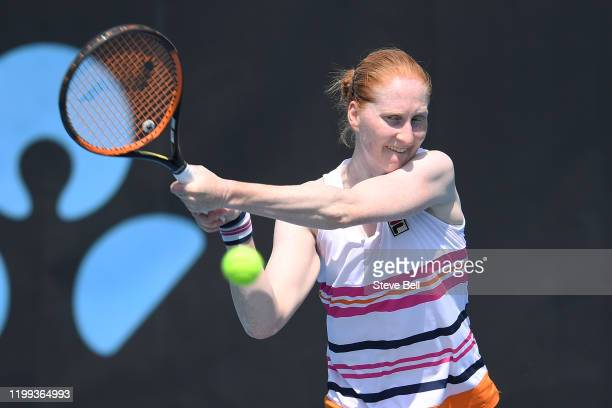 Alison Van Uytvanck of Belgium plays a backhand shot during her first round match against Alize Cornet of France during day four of the 2020 Hobart...