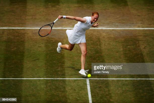 Alison Van Uytvanck of Belgium plays a backhand slice against Daria Kasatkina of Russia during their Ladies' Singles fourth round match on day seven...