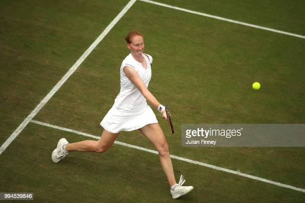Alison Van Uytvanck of Belgium plays a forehand against Daria Kasatkina of Russia during their Ladies' Singles fourth round match on day seven of the...