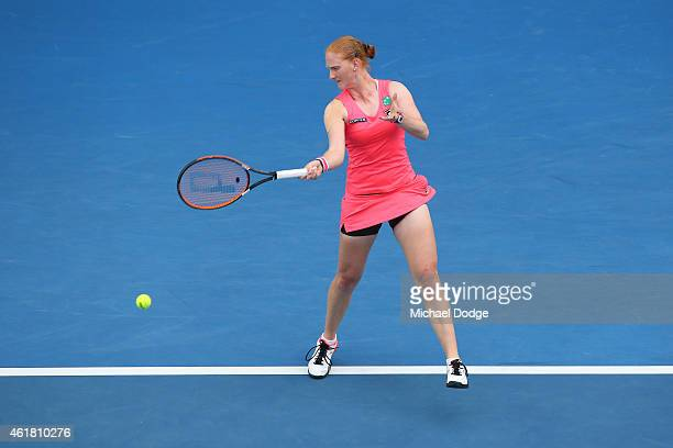 Alison Van Uytvanck of Belgium plays a forehand in her first round match against Serena Williams of the United States during day two of the 2015...