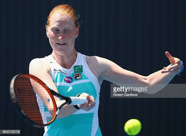 Alison Van Uytvanck of Belgium plays a forehand in the women's singles match against Carina Witthoeft of Germany during day one of 2016 Hobart...