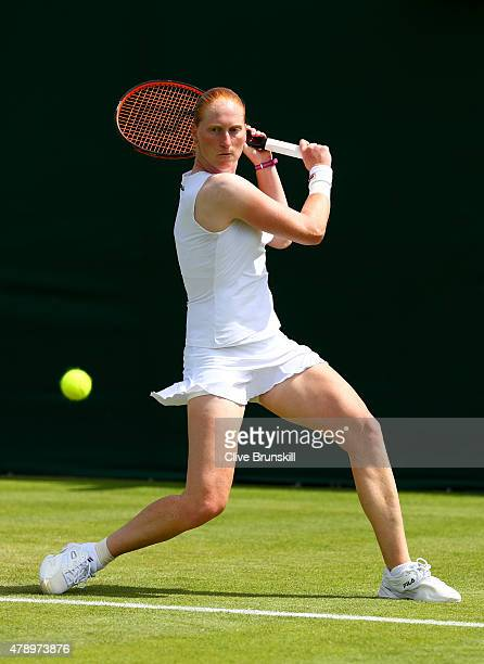 Alison Van Uytvanck of Belgium plays a shot in her Ladies's Singles first round match against Bethanie MattekSands of the United States of America...