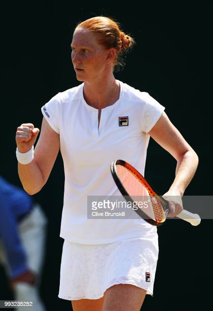 Alison Van Uytvanck of Belgium reacts against Anett Kontaveit of Estonia during their Ladies' Singles third round match on day six of the Wimbledon...