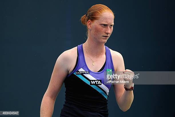 Alison Van Uytvanck of Belgium reacts during a match against Yanina Wickmayer of Belgium on day 1 of the Western and Southern Open on August 9 2014...