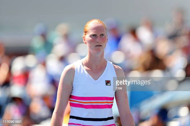 Alison Van Uytvanck of Belgium reacts during her Women's Singles second round match against Qiang Wang of China on day four of the 2019 US Open at...